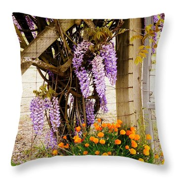 Flowers By The Gate Throw Pillow by Avis  Noelle