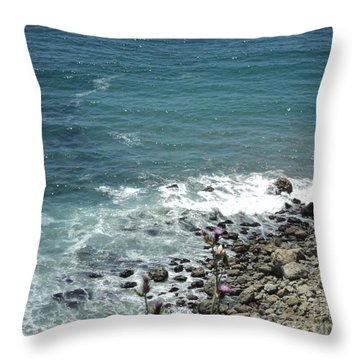 Flowers By The Seashore Throw Pillow by Carla Carson