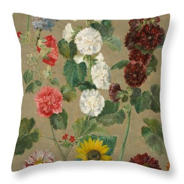 Flowers Throw Pillow by Ferdinand Victor Eugene Delacroix