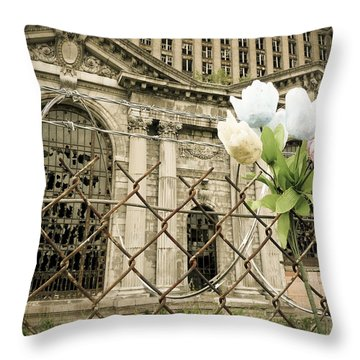 Flowers For Detroit Throw Pillow