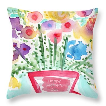 Flowers For Mom- Mother's Day Card Throw Pillow by Linda Woods
