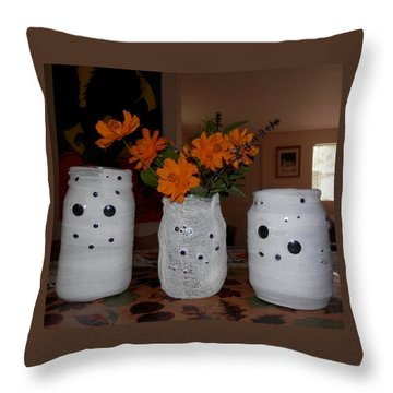 Halloween Flowers For Mummy Throw Pillow by Belinda Lee