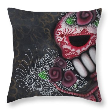 Flowers For The Dead II Throw Pillow by Abril Andrade Griffith