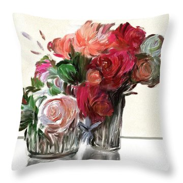 Flowers For Valentines Throw Pillow