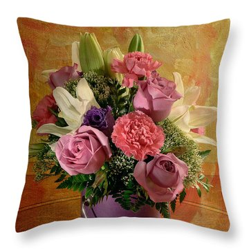 Flowers From A Friend Throw Pillow by Lois Bryan