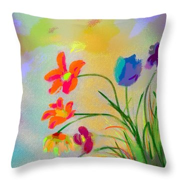 Flowers From The Right Throw Pillow