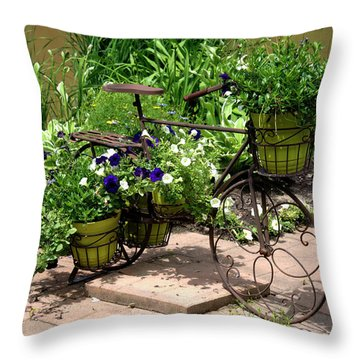 Flowers Home From The Market  Throw Pillow by Paul Cannon