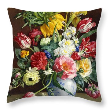 Flowers In A Blue And White Vase Throw Pillow by R Klausner
