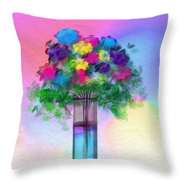 Throw Pillow featuring the digital art Flowers In A Glass Vase by Frank Bright