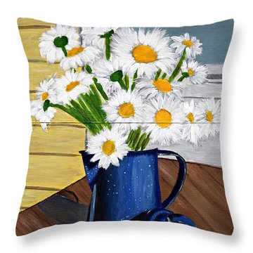 Throw Pillow featuring the painting Flowers In A Teapot by Laura Forde
