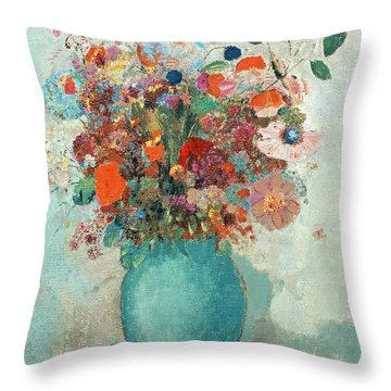 Flowers In A Turquoise Vase Throw Pillow