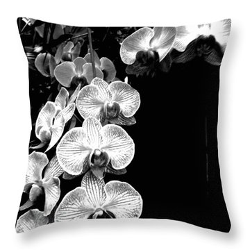 Flowers In Black And White Throw Pillow