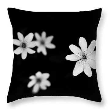 Flowers In Black Throw Pillow by Shane Holsclaw