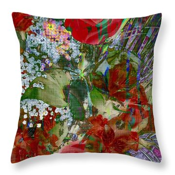 Throw Pillow featuring the digital art Flowers In Bloom by Liane Wright