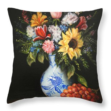 Flowers In Blue And White Vase Throw Pillow