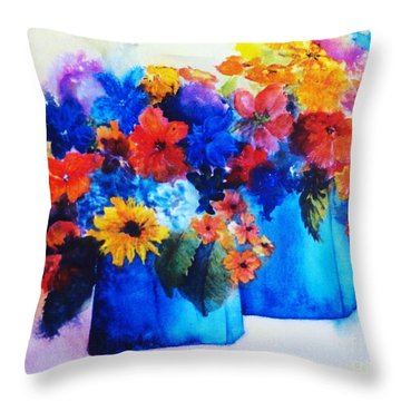 Flowers In Blue Vases Throw Pillow