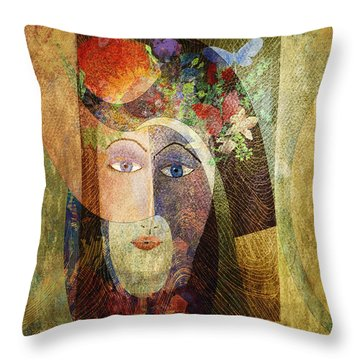 Throw Pillow featuring the digital art Flowers In Her Hair by Arline Wagner