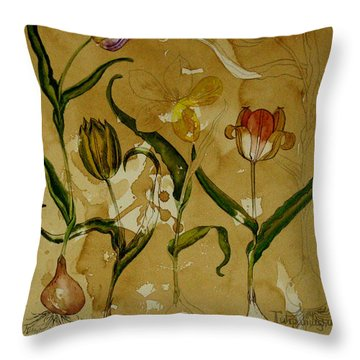Flowers In Herbarium Throw Pillow by Arual Jay