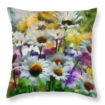 Flowers In My Garden Throw Pillow by Georgi Dimitrov