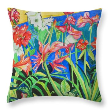 Flowers In Polyphony Throw Pillow by Esther Newman-Cohen