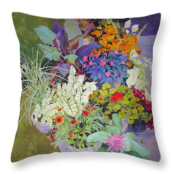 Flowers In The Courtyard Throw Pillow