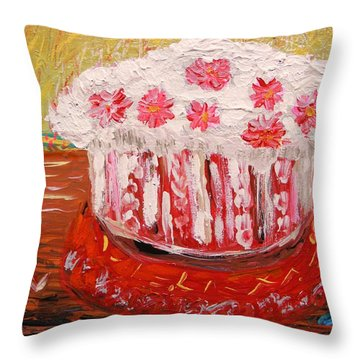 Throw Pillow featuring the painting Flowers In The Frosting by Mary Carol Williams