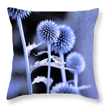 Flowers In The Metal Throw Pillow by Tommytechno Sweden