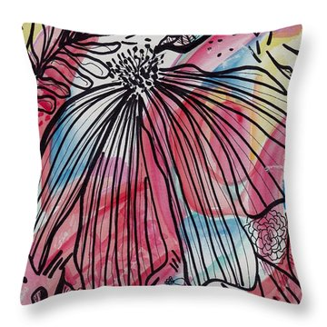 Flowers In The Wind Throw Pillow