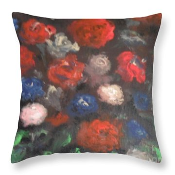 American Floral Throw Pillow