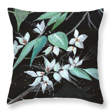 Flowers N Petals Throw Pillow by Anil Nene
