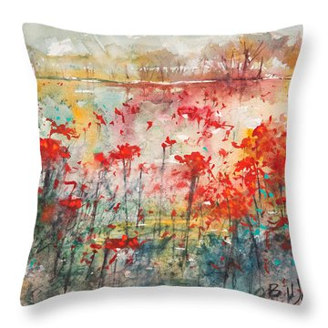Flowers Never Worry Throw Pillow