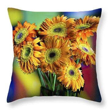 Flowers Throw Pillow by Niels Nielsen