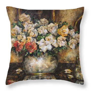 Flowers Of My Heart Throw Pillow by Dariusz Orszulik