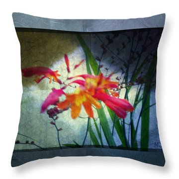 Throw Pillow featuring the digital art Flowers On Parchment by Absinthe Art By Michelle LeAnn Scott