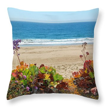 Throw Pillow featuring the photograph Flowers On Pismo Beach by Debra Thompson