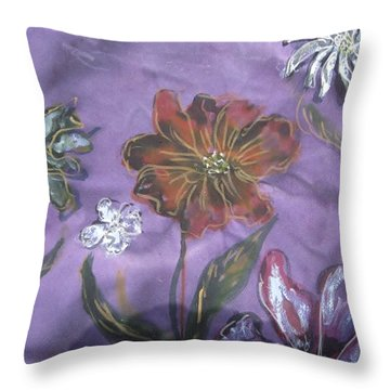Flowers On Silk Throw Pillow