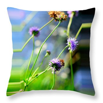 Flowers On Summer Meadow Throw Pillow by Tommytechno Sweden