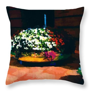 Flowers On The Canal Throw Pillow by P Dwain Morris