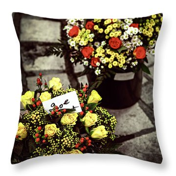 Flowers On The Market In France Throw Pillow by Elena Elisseeva
