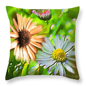 Flowers Orange And Blue Throw Pillow by Nedunseralathan R