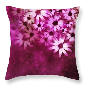 Flowers Pink On Pink Throw Pillow by Ann Powell