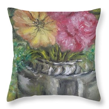 Throw Pillow featuring the painting Flowers by Teresa White