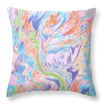 Flowers To Me Throw Pillow by Esther Newman-Cohen