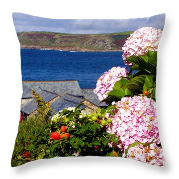 Flowers With A Sea View Throw Pillow by Terri Waters