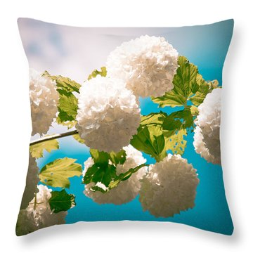Flowers With Blue Sky Throw Pillow