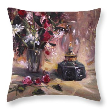 Throw Pillow featuring the painting Flowers With Lantern by Nancy Griswold