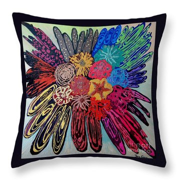 Throw Pillow featuring the painting Flowers Burst By Jasna Gopic by Jasna Gopic