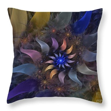 Flowery Fractal Composition With Stardust Throw Pillow