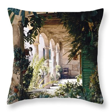 Flowery Majorquin  Patio In Valdemosa Throw Pillow