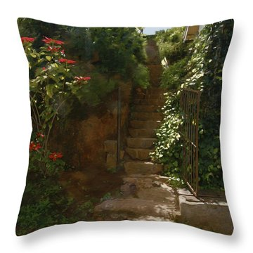 Flowery Stairway Throw Pillow by Dominique Amendola